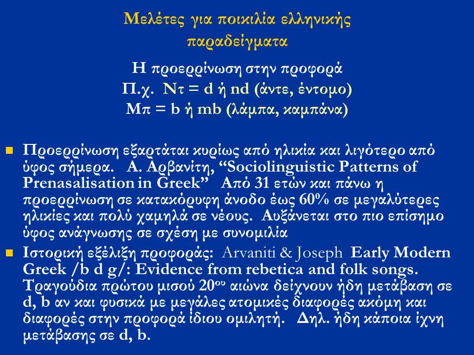 Mελέτες για ποικιλία ελληνικής παραδείγματα Η προερρίνωση στην προφορά Π.χ.