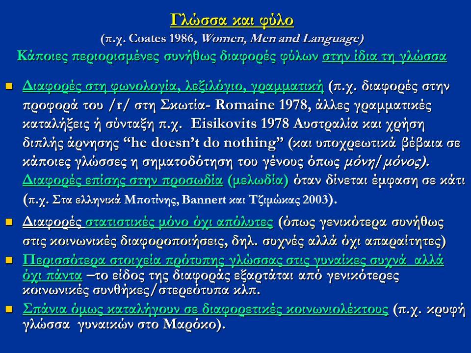 Γλώσσα και φύλο (π.χ. Coates 1986, Women, Men and Language) Κάποιες περιορισμένες συνήθως διαφορές φύλων στην ίδια τη γλώσσα Διαφορές στη φωνολογία, λ