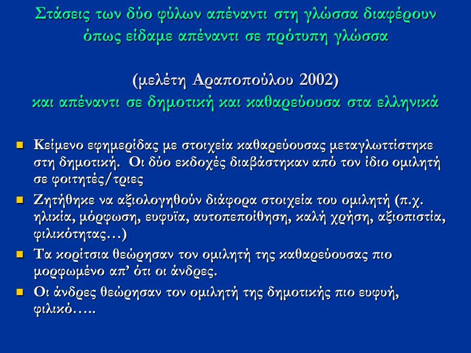 Στάσεις των δύο φύλων απέναντι στη γλώσσα διαφέρουν όπως είδαμε απέναντι σε πρότυπη γλώσσα (μελέτη Αραποπούλου 2002) και απέναντι σε δημοτική και καθαρεύουσα στα ελληνικά Κείμενο εφημερίδας με στοιχεία καθαρεύουσας μεταγλωττίστηκε στη δημοτική.
