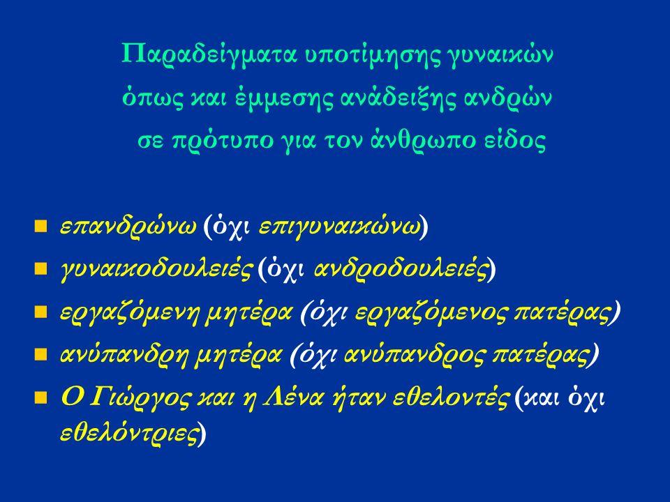 Παραδείγματα υποτίμησης γυναικών όπως και έμμεσης ανάδειξης ανδρών σε πρότυπο για τον άνθρωπο είδος επανδρώνω (όχι επιγυναικώνω) γυναικοδουλειές (όχι ανδροδουλειές) εργαζόμενη μητέρα (όχι εργαζόμενος πατέρας) ανύπανδρη μητέρα (όχι ανύπανδρος πατέρας) Ο Γιώργος και η Λένα ήταν εθελοντές (και όχι εθελόντριες)