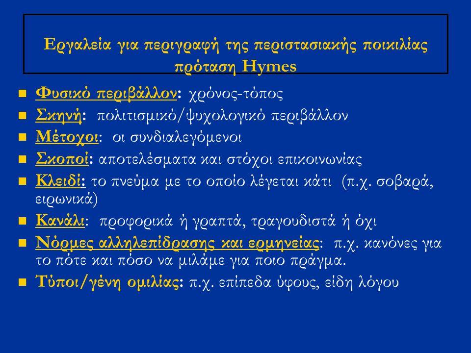 Εργαλεία για περιγραφή της περιστασιακής ποικιλίας πρόταση Hymes Φυσικό περιβάλλον: χρόνος-τόπος Σκηνή: πολιτισμικό/ψυχολογικό περιβάλλον Mέτοχοι: οι