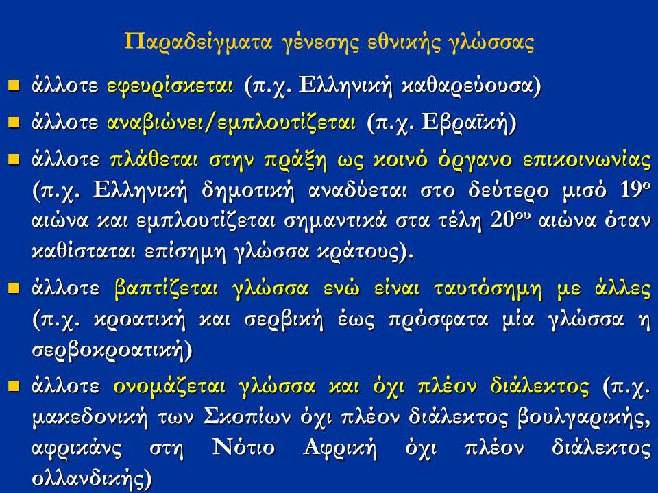 Παραδείγματα γένεσης εθνικής γλώσσας άλλοτε εφευρίσκεται (π.χ. Ελληνική καθαρεύουσα) άλλοτε εφευρίσκεται (π.χ. Ελληνική καθαρεύουσα) άλλοτε αναβιώνει/