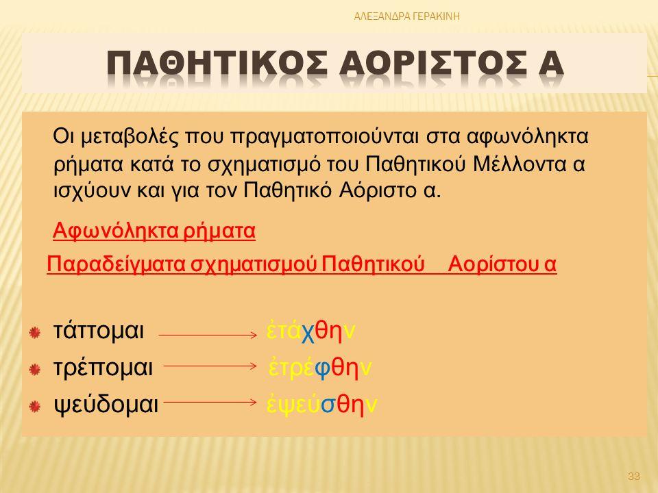 Οι μεταβολές που πραγματοποιούνται στα αφωνόληκτα ρήματα κατά το σχηματισμό του Παθητικού Μέλλοντα α ισχύουν και για τον Παθητικό Αόριστο α.
