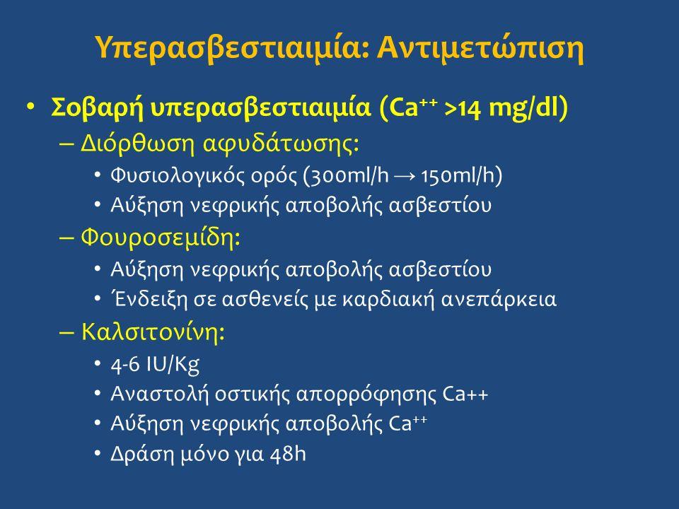 Υπερασβεστιαιμία: Αντιμετώπιση Σοβαρή υπερασβεστιαιμία (Ca ++ >14 mg/dl) – Διόρθωση αφυδάτωσης: Φυσιολογικός ορός (300ml/h → 150ml/h) Αύξηση νεφρικής αποβολής ασβεστίου – Φουροσεμίδη: Αύξηση νεφρικής αποβολής ασβεστίου Ένδειξη σε ασθενείς με καρδιακή ανεπάρκεια – Καλσιτονίνη: 4-6 IU/Kg Αναστολή οστικής απορρόφησης Ca++ Aύξηση νεφρικής αποβολής Ca ++ Δράση μόνο για 48h