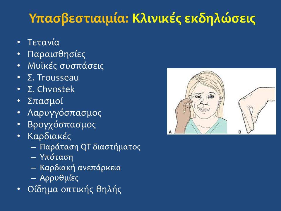 Υπασβεστιαιμία: Κλινικές εκδηλώσεις Τετανία Παραισθησίες Μυϊκές συσπάσεις Σ.