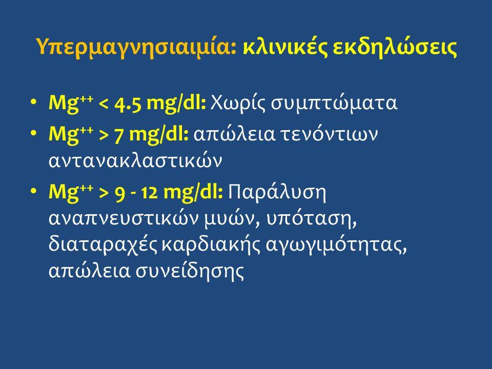 Υπερμαγνησιαιμία: κλινικές εκδηλώσεις Mg ++ < 4.5 mg/dl: Χωρίς συμπτώματα Mg ++ > 7 mg/dl: απώλεια τενόντιων αντανακλαστικών Mg ++ > 9 - 12 mg/dl: Παράλυση αναπνευστικών μυών, υπόταση, διαταραχές καρδιακής αγωγιμότητας, απώλεια συνείδησης