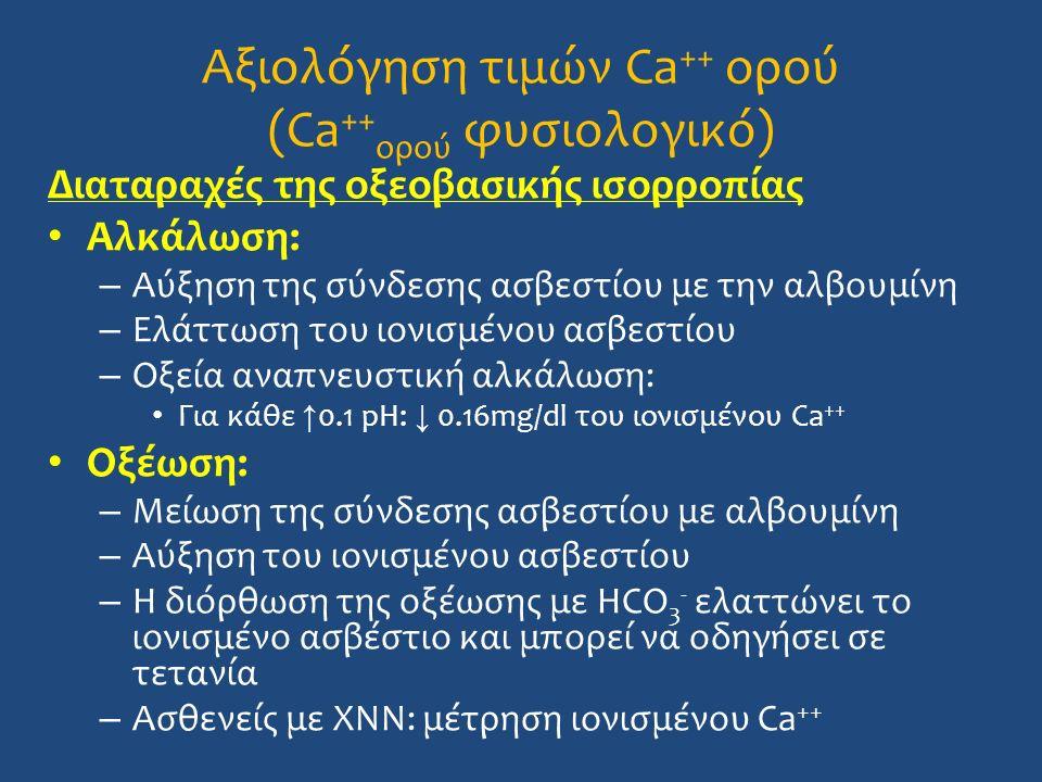 Αξιολόγηση τιμών Ca ++ ορού (Ca ++ ορού φυσιολογικό) Διαταραχές της οξεοβασικής ισορροπίας Αλκάλωση: – Αύξηση της σύνδεσης ασβεστίου με την αλβουμίνη – Ελάττωση του ιονισμένου ασβεστίου – Οξεία αναπνευστική αλκάλωση: Για κάθε ↑ 0.1 pH: ↓ 0.16mg/dl του ιονισμένου Ca ++ Οξέωση: – Μείωση της σύνδεσης ασβεστίου με αλβουμίνη – Αύξηση του ιονισμένου ασβεστίου – Η διόρθωση της οξέωσης με HCO 3 - ελαττώνει το ιονισμένο ασβέστιο και μπορεί να οδηγήσει σε τετανία – Ασθενείς με ΧΝΝ: μέτρηση ιονισμένου Ca ++