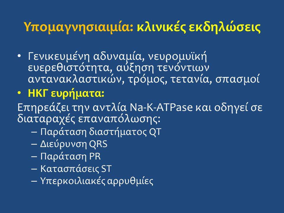 Υπομαγνησιαιμία: κλινικές εκδηλώσεις Γενικευμένη αδυναμία, νευρομυϊκή ευερεθιστότητα, αύξηση τενόντιων αντανακλαστικών, τρόμος, τετανία, σπασμοί ΗΚΓ ευρήματα: Επηρεάζει την αντλία Na-K-ATPase και οδηγεί σε διαταραχές επαναπόλωσης: – Παράταση διαστήματος QT – Διεύρυνση QRS – Παράταση PR – Κατασπάσεις ST – Υπερκοιλιακές αρρυθμίες