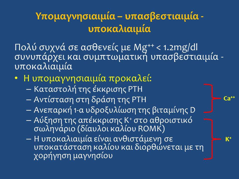 Υπομαγνησιαιμία – υπασβεστιαιμία - υποκαλιαιμία Πολύ συχνά σε ασθενείς με Mg ++ < 1.2mg/dl συνυπάρχει και συμπτωματική υπασβεστιαιμία - υποκαλιαιμία Η υπομαγνησιαιμία προκαλεί: – Καταστολή της έκκρισης PTH – Αντίσταση στη δράση της PTH – Ανεπαρκή 1-α υδροξυλίωση της βιταμίνης D – Αύξηση της απέκκρισης K + στο αθροιστικό σωληνάριο (δίαυλοι καλίου ROMK) – Η υποκαλιαιμία είναι ανθιστάμενη σε υποκατάσταση καλίου και διορθώνεται με τη χορήγηση μαγνησίου Ca ++ K+K+