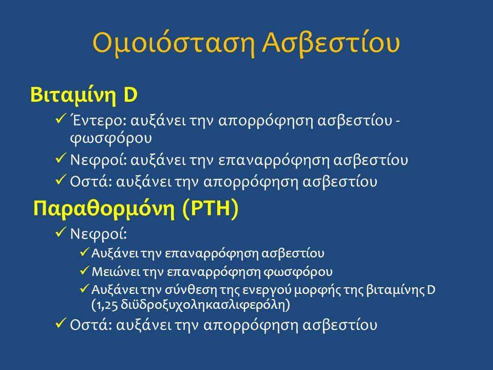 Ομοιόσταση Ασβεστίου Βιταμίνη D Έντερο: αυξάνει την απορρόφηση ασβεστίου - φωσφόρου Νεφροί: αυξάνει την επαναρρόφηση ασβεστίου Οστά: αυξάνει την απορρόφηση ασβεστίου Παραθορμόνη (PTH) Νεφροί: Αυξάνει την επαναρρόφηση ασβεστίου Μειώνει την επαναρρόφηση φωσφόρου Αυξάνει την σύνθεση της ενεργού μορφής της βιταμίνης D (1,25 διϋδροξυχοληκασλιφερόλη) Οστά: αυξάνει την απορρόφηση ασβεστίου