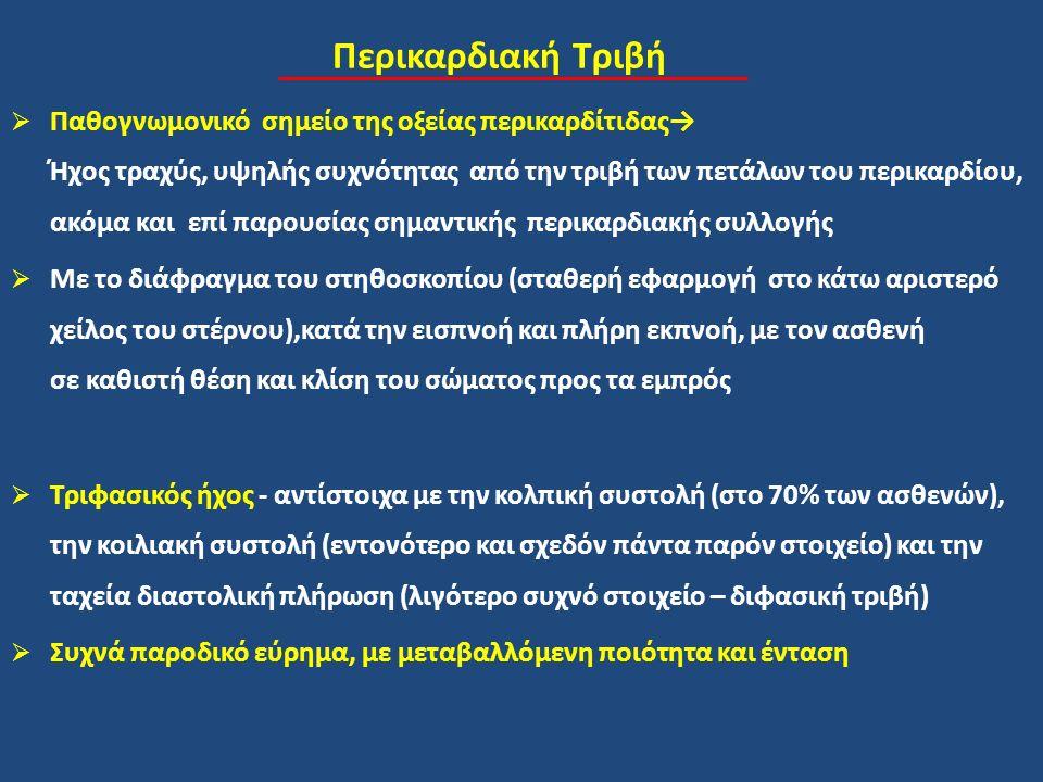 Περικαρδιακή Τριβή  Παθογνωμονικό σημείο της οξείας περικαρδίτιδας→ Ήχος τραχύς, υψηλής συχνότητας από την τριβή των πετάλων του περικαρδίου, ακόμα και επί παρουσίας σημαντικής περικαρδιακής συλλογής  Με το διάφραγμα του στηθοσκοπίου (σταθερή εφαρμογή στο κάτω αριστερό χείλος του στέρνου),κατά την εισπνοή και πλήρη εκπνοή, με τον ασθενή σε καθιστή θέση και κλίση του σώματος προς τα εμπρός  Τριφασικός ήχος - αντίστοιχα με την κολπική συστολή (στο 70% των ασθενών), την κοιλιακή συστολή (εντονότερο και σχεδόν πάντα παρόν στοιχείο) και την ταχεία διαστολική πλήρωση (λιγότερο συχνό στοιχείο – διφασική τριβή)  Συχνά παροδικό εύρημα, με μεταβαλλόμενη ποιότητα και ένταση