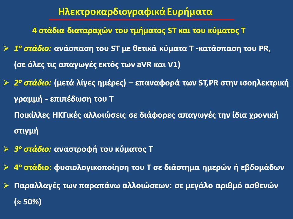 Ηλεκτροκαρδιογραφικά Ευρήματα 4 στάδια διαταραχών του τμήματος ST και του κύματος T  1 ο στάδιο: ανάσπαση του ST με θετικά κύματα Τ -κατάσπαση του PR, (σε όλες τις απαγωγές εκτός των aVR και V1)  2 ο στάδιο: (μετά λίγες ημέρες) – επαναφορά των ST,PR στην ισοηλεκτρική γραμμή - επιπέδωση του T Ποικίλλες ΗΚΓικές αλλοιώσεις σε διάφορες απαγωγές την ίδια χρονική στιγμή  3 ο στάδιο: αναστροφή του κύματος T  4 ο στάδιο: φυσιολογικοποίηση του Τ σε διάστημα ημερών ή εβδομάδων  Παραλλαγές των παραπάνω αλλοιώσεων: σε μεγάλο αριθμό ασθενών (≈ 50%)