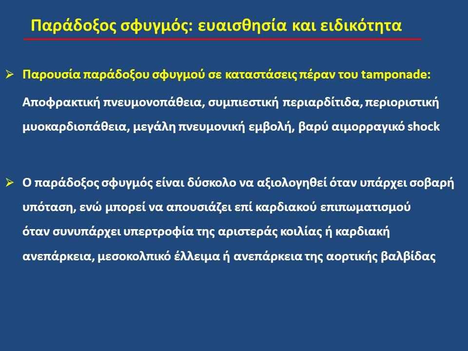 Παράδοξος σφυγμός: ευαισθησία και ειδικότητα  Παρουσία παράδοξου σφυγμού σε καταστάσεις πέραν του tamponade: Αποφρακτική πνευμονοπάθεια, συμπιεστική περιαρδίτιδα, περιοριστική μυοκαρδιοπάθεια, μεγάλη πνευμονική εμβολή, βαρύ αιμορραγικό shock  Ο παράδοξος σφυγμός είναι δύσκολο να αξιολογηθεί όταν υπάρχει σοβαρή υπόταση, ενώ μπορεί να απουσιάζει επί καρδιακού επιπωματισμού όταν συνυπάρχει υπερτροφία της αριστεράς κοιλίας ή καρδιακή ανεπάρκεια, μεσοκολπικό έλλειμα ή ανεπάρκεια της αορτικής βαλβίδας