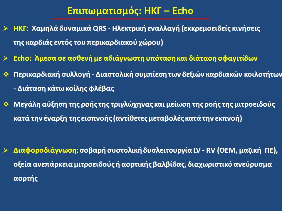 Επιπωματισμός: ΗΚΓ – Echo  ΗΚΓ: Χαμηλά δυναμικά QRS - Ηλεκτρική εναλλαγή (εκκρεμοειδείς κινήσεις της καρδιάς εντός του περικαρδιακού χώρου)  Echo: Άμεσα σε ασθενή με αδιάγνωστη υπόταση και διάταση σφαγιτίδων  Περικαρδιακή συλλογή - Διαστολική συμπίεση των δεξιών καρδιακών κοιλοτήτων - Διάταση κάτω κοίλης φλέβας  Μεγάλη αύξηση της ροής της τριγλώχηνας και μείωση της ροής της μιτροειδούς κατά την έναρξη της εισπνοής (αντίθετες μεταβολές κατά την εκπνοή)  Διαφοροδιάγνωση: σοβαρή συστολική δυσλειτουργία LV - RV (ΟΕΜ, μαζική ΠΕ), οξεία ανεπάρκεια μιτροειδούς ή αορτικής βαλβίδας, διαχωριστικό ανεύρυσμα αορτής