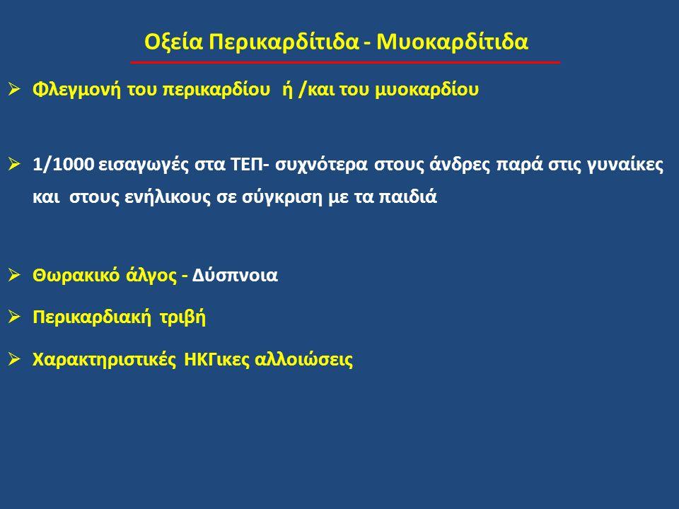 Οξεία Περικαρδίτιδα - Μυοκαρδίτιδα  Φλεγμονή του περικαρδίου ή /και του μυοκαρδίου  1/1000 εισαγωγές στα ΤΕΠ- συχνότερα στους άνδρες παρά στις γυναίκες και στους ενήλικους σε σύγκριση με τα παιδιά  Θωρακικό άλγος - Δύσπνοια  Περικαρδιακή τριβή  Χαρακτηριστικές ΗΚΓικες αλλοιώσεις