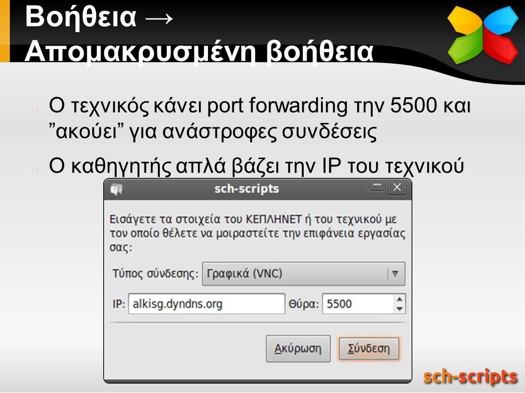 Βοήθεια → Απομακρυσμένη βοήθεια Ο τεχνικός κάνει port forwarding την 5500 και ακούει για ανάστροφες συνδέσεις Ο καθηγητής απλά βάζει την IP του τεχνικού