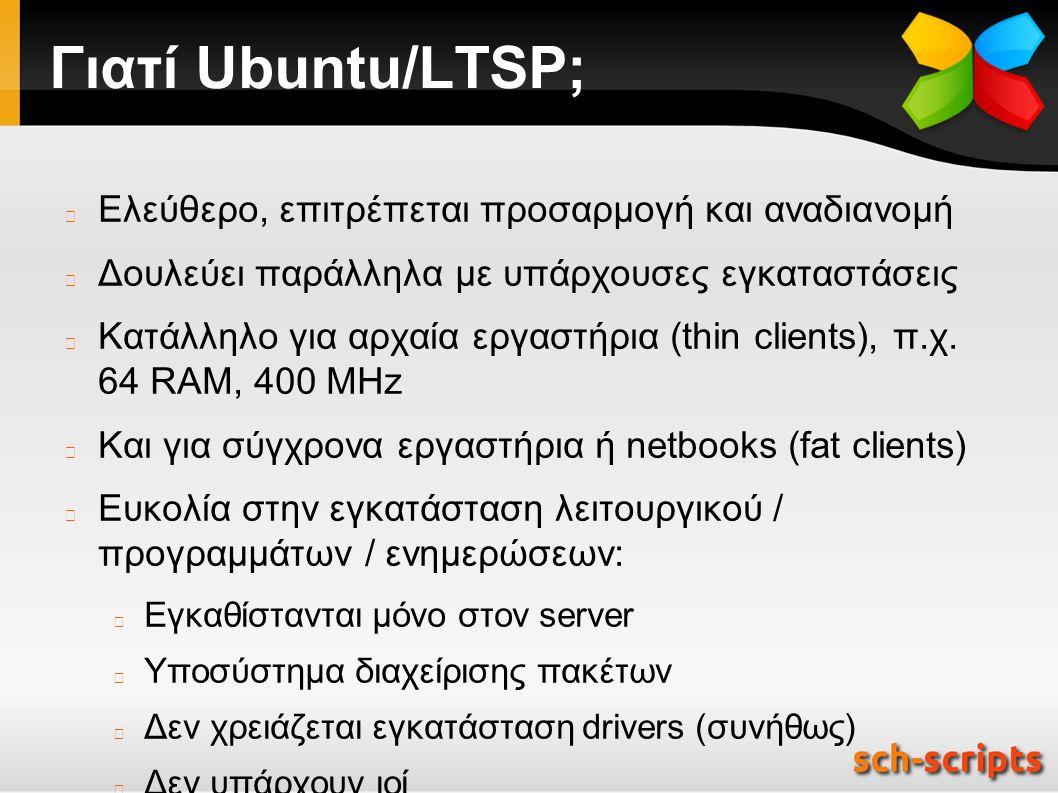 Γιατί Ubuntu/LTSP; Ελεύθερο, επιτρέπεται προσαρμογή και αναδιανομή Δουλεύει παράλληλα με υπάρχουσες εγκαταστάσεις Κατάλληλο για αρχαία εργαστήρια (thin clients), π.χ.