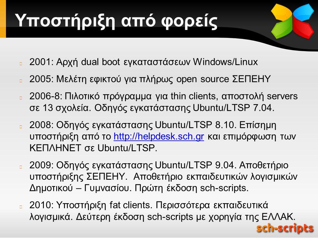 Υποστήριξη από φορείς 2001: Αρχή dual boot εγκαταστάσεων Windows/Linux 2005: Μελέτη εφικτού για πλήρως open source ΣΕΠΕΗΥ 2006-8: Πιλοτικό πρόγραμμα για thin clients, αποστολή servers σε 13 σχολεία.