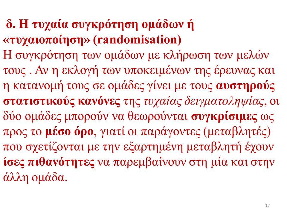 δ. Η τυχαία συγκρότηση ομάδων ή «τυχαιοποίηση» (randomisation) Η συγκρότηση των ομάδων με κλήρωση των μελών τους. Αν η εκλογή των υποκειμένων της έρευ