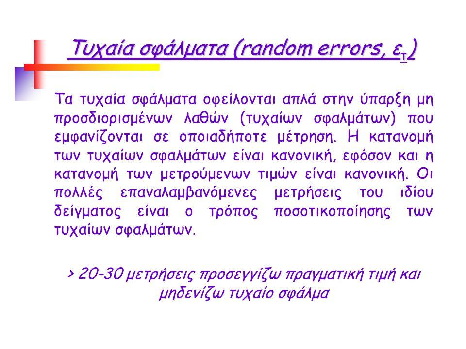 Τυχαία σφάλματα (random errors, ε τ ) Tα τυχαία σφάλματα οφείλονται απλά στην ύπαρξη μη προσδιορισμένων λαθών (τυχαίων σφαλμάτων) που εμφανίζονται σε οποιαδήποτε μέτρηση.