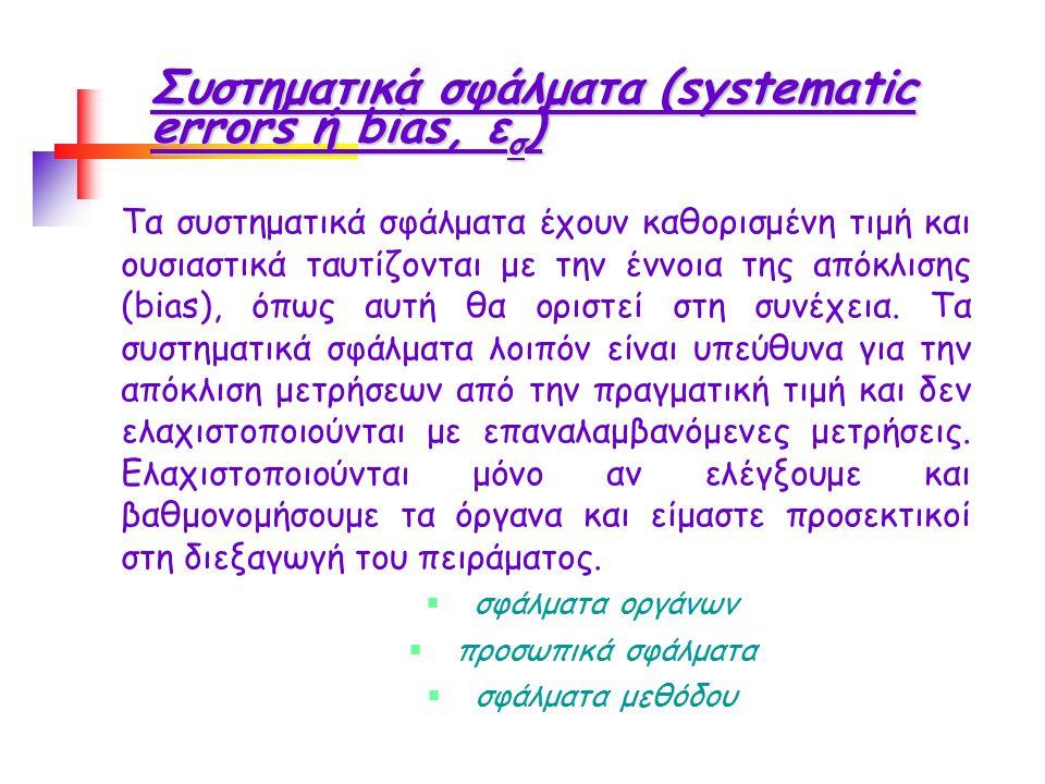 Συστηματικά σφάλματα (systematic errors ή bias, ε σ ) Τα συστηματικά σφάλματα έχουν καθορισμένη τιμή και ουσιαστικά ταυτίζονται με την έννοια της απόκλισης (bias), όπως αυτή θα οριστεί στη συνέχεια.