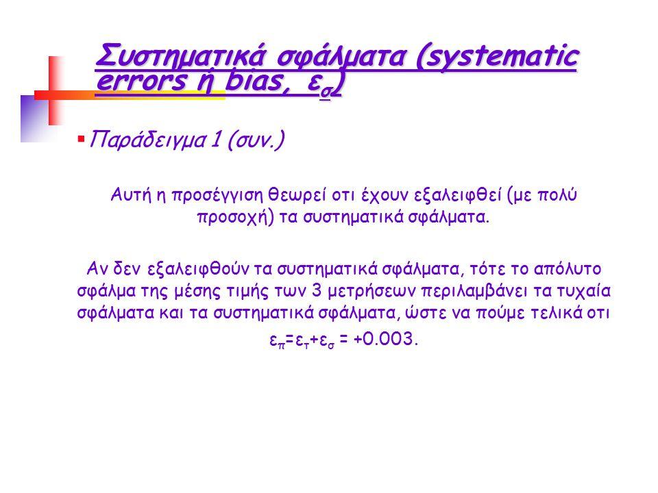 Συστηματικά σφάλματα (systematic errors ή bias, ε σ )  Παράδειγμα 1 (συν.) Αυτή η προσέγγιση θεωρεί οτι έχουν εξαλειφθεί (με πολύ προσοχή) τα συστηματικά σφάλματα.
