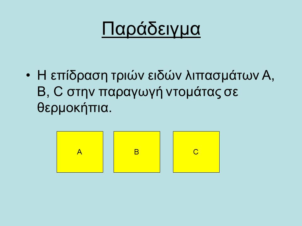 Παράδειγμα Η επίδραση τριών ειδών λιπασμάτων A, B, C στην παραγωγή ντομάτας σε θερμοκήπια. ABC
