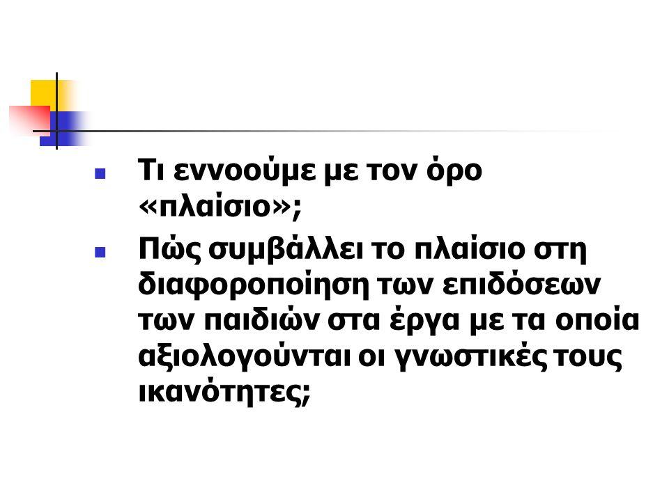 Πλαίσιο Συνθήκες μιας πειραματικής διαδικασίας Εντολές που δίδει ο ερευνητής στα παιδιά (η γλώσσα που χρησιμο- ποιεί) Ο τρόπος παρουσίασης του πειραματικού υλικού Η πρόθεση του ερευνητή Ο τρόπος επικοινωνίας του ερευνητή με το παιδί