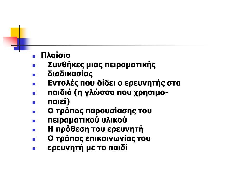 Πλαίσιο Συνθήκες μιας πειραματικής διαδικασίας Εντολές που δίδει ο ερευνητής στα παιδιά (η γλώσσα που χρησιμο- ποιεί) Ο τρόπος παρουσίασης του πειραμα