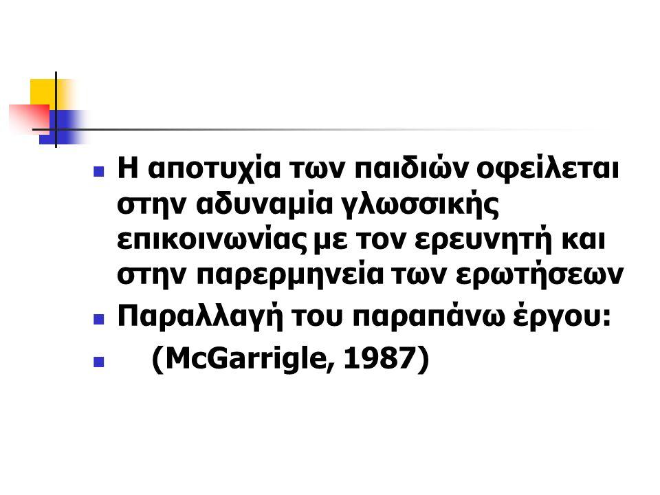 Η αποτυχία των παιδιών οφείλεται στην αδυναμία γλωσσικής επικοινωνίας με τον ερευνητή και στην παρερμηνεία των ερωτήσεων Παραλλαγή του παραπάνω έργου: (McGarrigle, 1987)