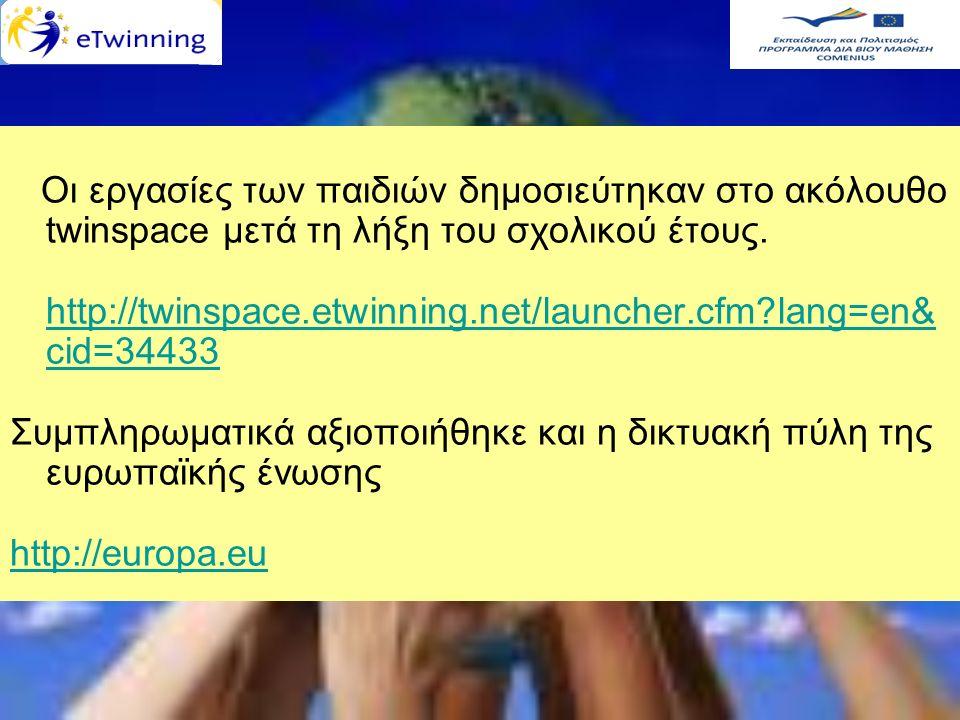 Οι εργασίες των παιδιών δημοσιεύτηκαν στο ακόλουθο twinspace μετά τη λήξη του σχολικού έτους. http://twinspace.etwinning.net/launcher.cfm?lang=en& cid