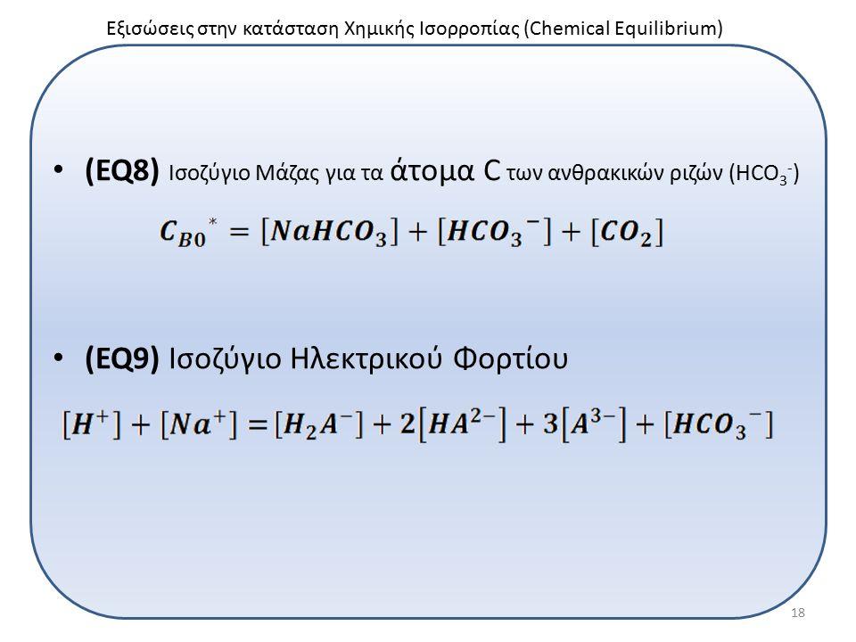(EQ8) Ισοζύγιο Μάζας για τα άτομα C των ανθρακικών ριζών (HCO 3 - ) (EQ9) Ισοζύγιο Ηλεκτρικού Φορτίου Εξισώσεις στην κατάσταση Χημικής Ισορροπίας (Chemical Equilibrium) 18