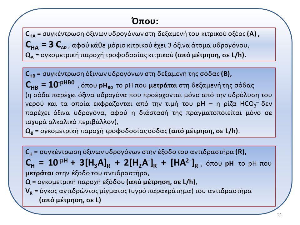 Όπου: C HA = συγκέντρωση όξινων υδρογόνων στη δεξαμενή του κιτρικού οξέος (Α), C HA = 3 C A0, αφού κάθε μόριο κιτρικού έχει 3 όξινα άτομα υδρογόνου, Q A = ογκομετρική παροχή τροφοδοσίας κιτρικού (από μέτρηση, σε L/h).