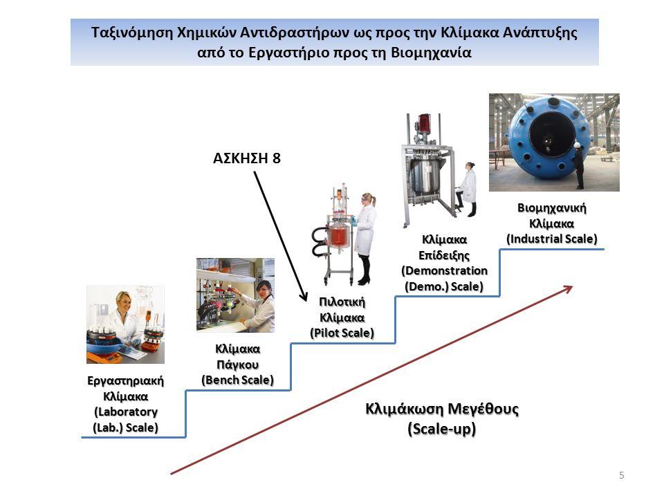 5 Ταξινόμηση Χημικών Αντιδραστήρων ως προς την Κλίμακα Ανάπτυξης από το Εργαστήριο προς τη Βιομηχανία ΕργαστηριακήΚλίμακα(Laboratory (Lab.) Scale) ΚλίμακαΠάγκου (Bench Scale) ΠιλοτικήΚλίμακα (Pilot Scale) ΒιομηχανικήΚλίμακα (Industrial Scale) ΚλίμακαΕπίδειξης (Demonstration (Demo.) Scale) Κλιμάκωση Μεγέθους (Scale-up) ΑΣΚΗΣΗ 8