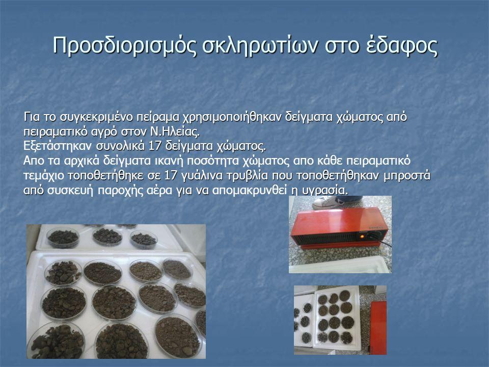 Προσδιορισμός σκληρωτίων στο έδαφος Για το συγκεκριμένο πείραμα χρησιμοποιήθηκαν δείγματα χώματος από πειραματικό αγρό στον Ν.Ηλείας.