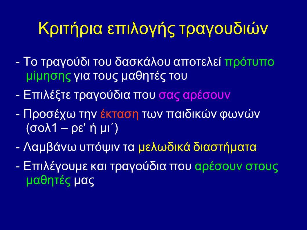 Κριτήρια επιλογής τραγουδιών - Το τραγούδι του δασκάλου αποτελεί πρότυπο μίμησης για τους μαθητές του - Επιλέξτε τραγούδια που σας αρέσουν - Προσέχω την έκταση των παιδικών φωνών (σολ1 – ρε ή μι΄) - Λαμβάνω υπόψιν τα μελωδικά διαστήματα - Επιλέγουμε και τραγούδια που αρέσουν στους μαθητές μας