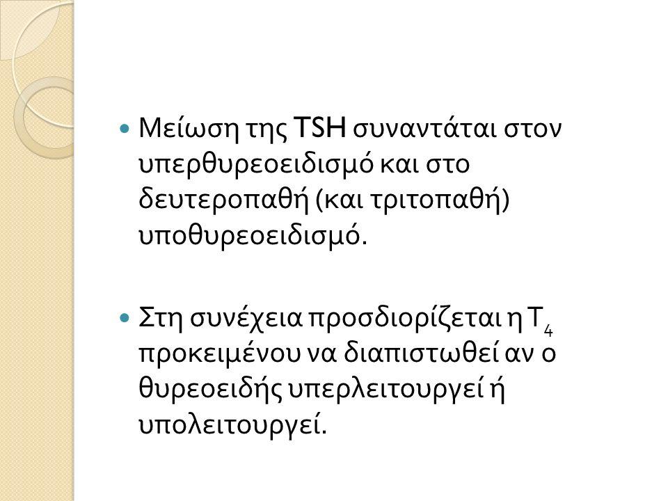 Μείωση της TSH συναντάται στον υπερθυρεοειδισμό και στο δευτεροπαθή ( και τριτοπαθή ) υποθυρεοειδισμό.