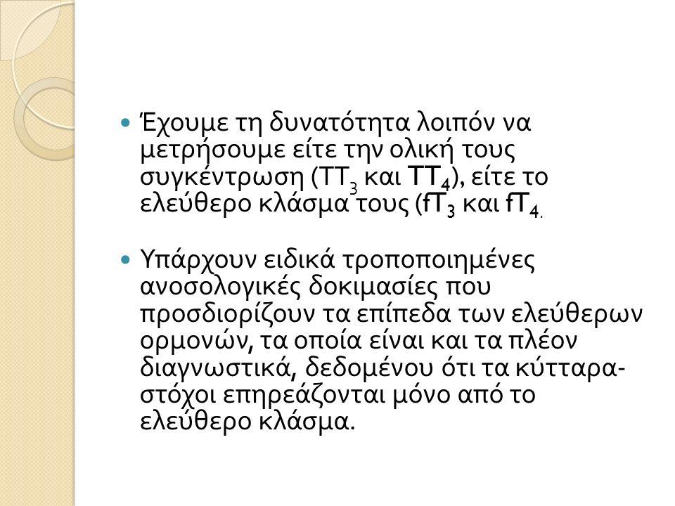 Έχουμε τη δυνατότητα λοιπόν να μετρήσουμε είτε την ολική τους συγκέντρωση ( ΤΤ 3 και TT 4 ), είτε το ελεύθερο κλάσμα τους (fT 3 και fT 4.