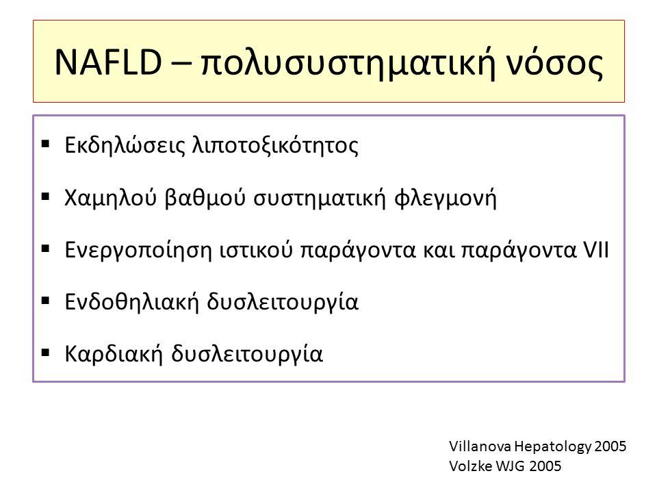 NAFLD – πολυσυστηματική νόσος  Εκδηλώσεις λιποτοξικότητος  Χαμηλού βαθμού συστηματική φλεγμονή  Ενεργοποίηση ιστικού παράγοντα και παράγοντα VII  Ενδοθηλιακή δυσλειτουργία  Καρδιακή δυσλειτουργία Villanova Hepatology 2005 Volzke WJG 2005