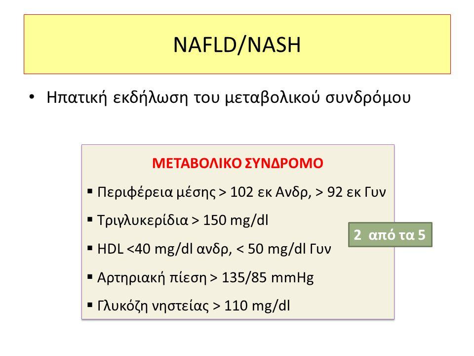 NAFLD/NASH Ηπατική εκδήλωση του μεταβολικού συνδρόμου ΜΕΤΑΒΟΛΙΚΟ ΣΥΝΔΡΟΜΟ  Περιφέρεια μέσης > 102 εκ Ανδρ, > 92 εκ Γυν  Τριγλυκερίδια > 150 mg/dl  HDL <40 mg/dl ανδρ, < 50 mg/dl Γυν  Αρτηριακή πίεση > 135/85 mmHg  Γλυκόζη νηστείας > 110 mg/dl ΜΕΤΑΒΟΛΙΚΟ ΣΥΝΔΡΟΜΟ  Περιφέρεια μέσης > 102 εκ Ανδρ, > 92 εκ Γυν  Τριγλυκερίδια > 150 mg/dl  HDL <40 mg/dl ανδρ, < 50 mg/dl Γυν  Αρτηριακή πίεση > 135/85 mmHg  Γλυκόζη νηστείας > 110 mg/dl 2 από τα 5