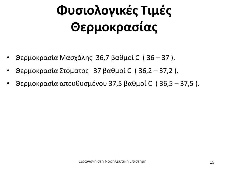 Φυσιολογικές Τιμές Θερμοκρασίας Θερμοκρασία Μασχάλης 36,7 βαθμοί C ( 36 – 37 ). Θερμοκρασία Στόματος 37 βαθμοί C ( 36,2 – 37,2 ). Θερμοκρασία απευθυσμ