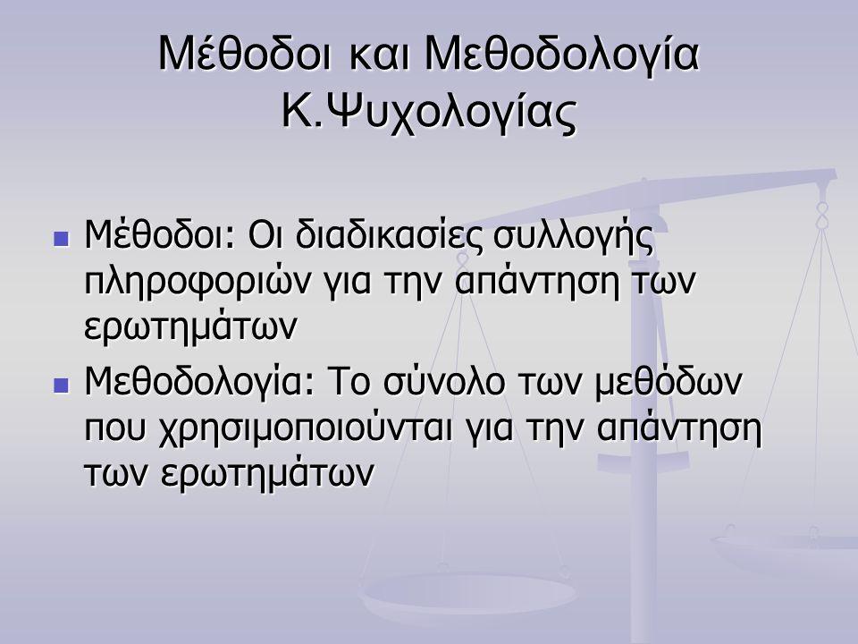 Μέθοδοι και Μεθοδολογία Κ.Ψυχολογίας Μέθοδοι: Οι διαδικασίες συλλογής πληροφοριών για την απάντηση των ερωτημάτων Μέθοδοι: Οι διαδικασίες συλλογής πληροφοριών για την απάντηση των ερωτημάτων Μεθοδολογία: Το σύνολο των μεθόδων που χρησιμοποιούνται για την απάντηση των ερωτημάτων Μεθοδολογία: Το σύνολο των μεθόδων που χρησιμοποιούνται για την απάντηση των ερωτημάτων