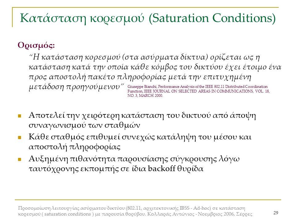 Προσομοίωση λειτουργίας ασύρματου δικτύου (802.11, αρχιτεκτονικής IBSS - Ad-hoc) σε κατάσταση κορεσμού ( saturation conditions ) με παρουσία θορύβου.