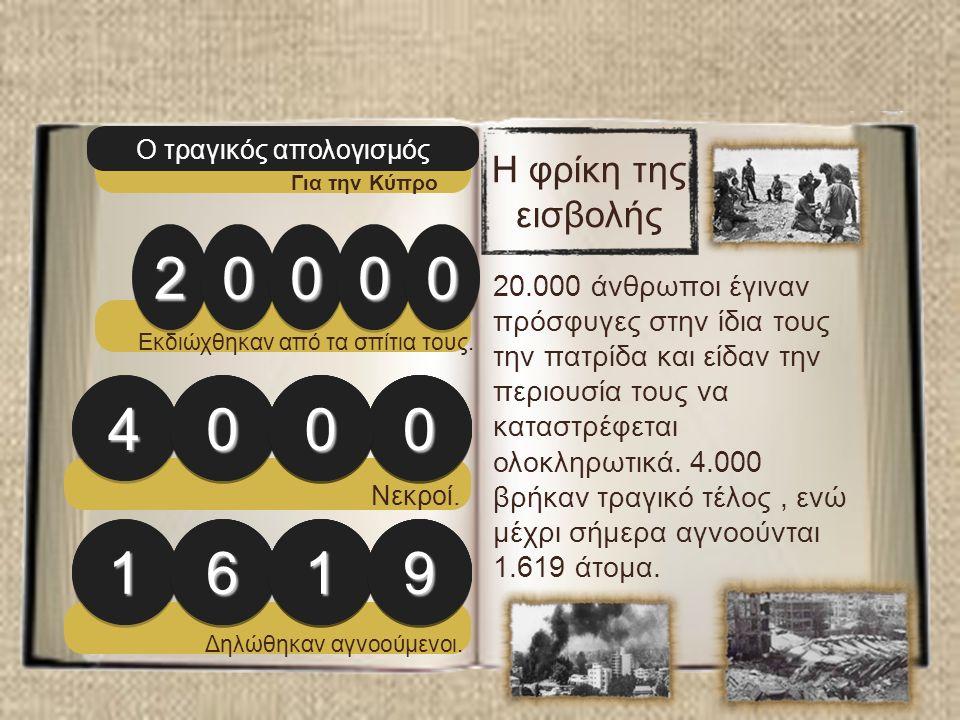 Ο τραγικός απολογισμός Για την Κύπρο 2200000000 44000000 11661199 Εκδιώχθηκαν από τα σπίτια τους.