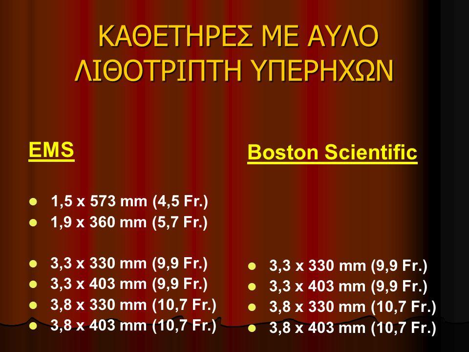ΚΑΘΕΤΗΡΕΣ ΜΕ ΑΥΛΟ ΛΙΘΟΤΡΙΠΤΗ ΥΠΕΡΗΧΩΝ ΚΑΘΕΤΗΡΕΣ ΜΕ ΑΥΛΟ ΛΙΘΟΤΡΙΠΤΗ ΥΠΕΡΗΧΩΝ Boston Scientific 3,3 x 330 mm (9,9 Fr.) 3,3 x 403 mm (9,9 Fr.) 3,8 x 330 mm (10,7 Fr.) 3,8 x 403 mm (10,7 Fr.) EMS 1,5 x 573 mm (4,5 Fr.) 1,9 x 360 mm (5,7 Fr.) 3,3 x 330 mm (9,9 Fr.) 3,3 x 403 mm (9,9 Fr.) 3,8 x 330 mm (10,7 Fr.) 3,8 x 403 mm (10,7 Fr.)