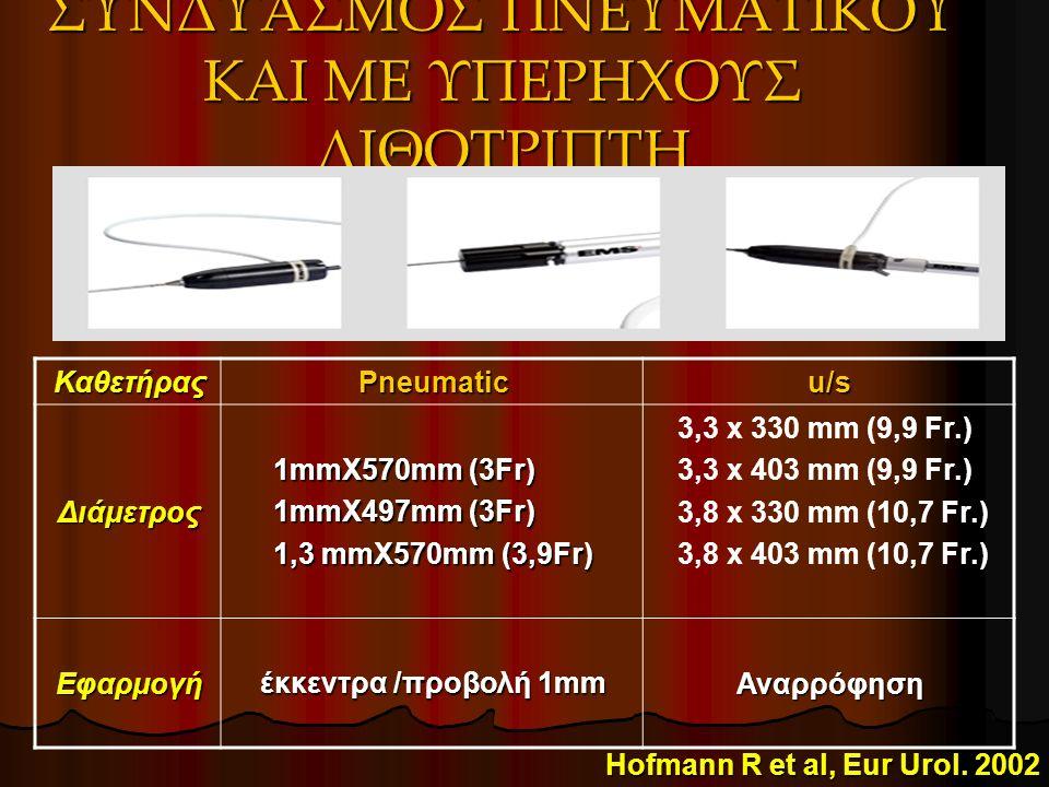ΣΥΝΔΥΑΣΜΟΣ ΠΝΕΥΜΑΤΙΚΟΥ ΚΑΙ ΜΕ ΥΠΕΡΗΧΟΥΣ ΛΙΘΟΤΡΙΠΤΗ ΚαθετήραςPneumaticu/sΔιάμετρος 1mmX570mm (3Fr) 1mmX497mm (3Fr) 1,3 mmX570mm (3,9Fr) 3,3 x 330 mm (9,9 Fr.) 3,3 x 403 mm (9,9 Fr.) 3,8 x 330 mm (10,7 Fr.) 3,8 x 403 mm (10,7 Fr.) Εφαρμογή έκκεντρα /προβολή 1mm Αναρρόφηση Hofmann R et al, Eur Urol.