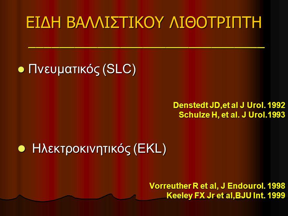 ΕΙΔΗ ΒΑΛΛΙΣΤΙΚΟΥ ΛΙΘΟΤΡΙΠΤΗ _______________________________ ΧαρακτηριστικάΠΝΕΥΜΑΤΙΚΟΣΗΛΕΚΤΡΟΚΙΝΗΤΙΚΟΣ Πηγή Ενέργειας Πεπιεσμένος αέρας Ηλεκτρικό ρεύμα Συχνότητα ταλάντωσης 0-12 Hz 15-30 Hz Χειρολαβή Μεταλλικό βλήμα Ηλεκτρικό πηνίο Διάμετρος μήλης 2,4Fr-9,6Fr 2,4Fr-10,5Fr ΚόστοςΧαμηλόΧαμηλότερο