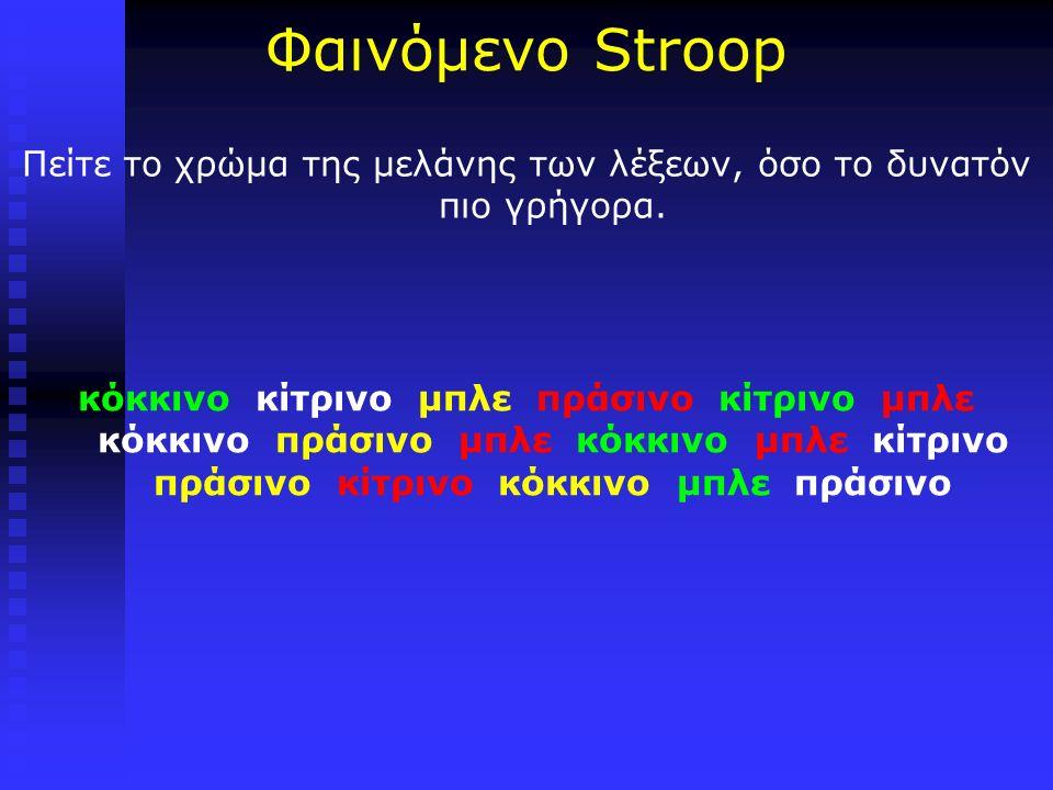 Φαινόμενο Stroop Πείτε το χρώμα της μελάνης των λέξεων, όσο το δυνατόν πιο γρήγορα.