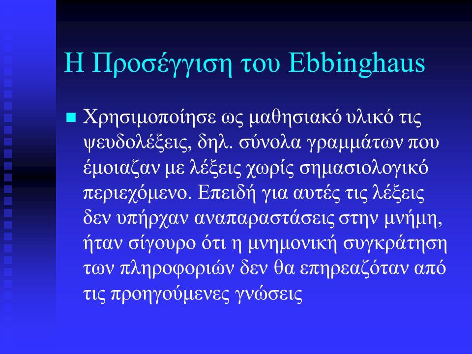Η Προσέγγιση του Ebbinghaus Χρησιμοποίησε ως μαθησιακό υλικό τις ψευδολέξεις, δηλ.