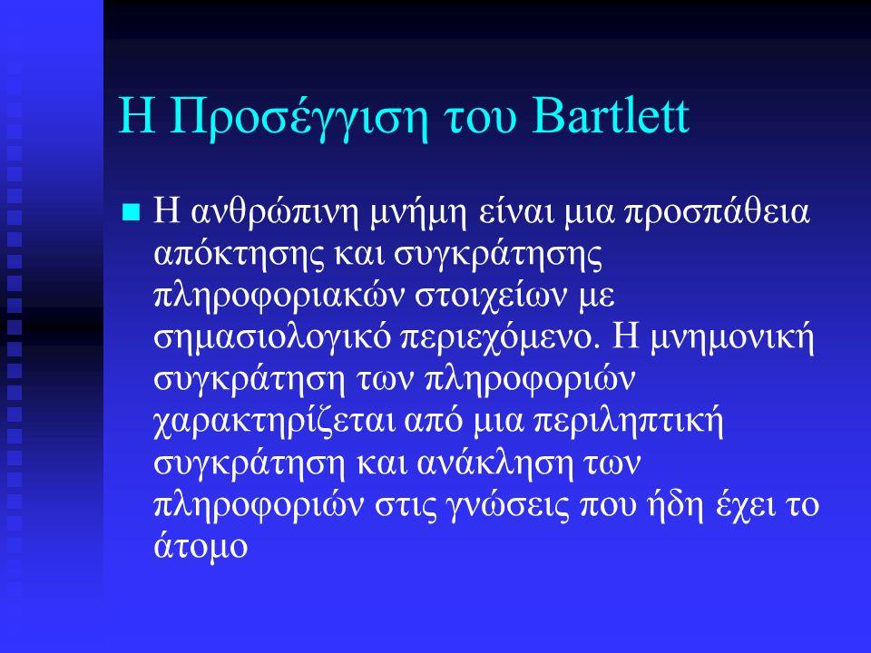 Η Προσέγγιση του Bartlett Η ανθρώπινη μνήμη είναι μια προσπάθεια απόκτησης και συγκράτησης πληροφοριακών στοιχείων με σημασιολογικό περιεχόμενο.